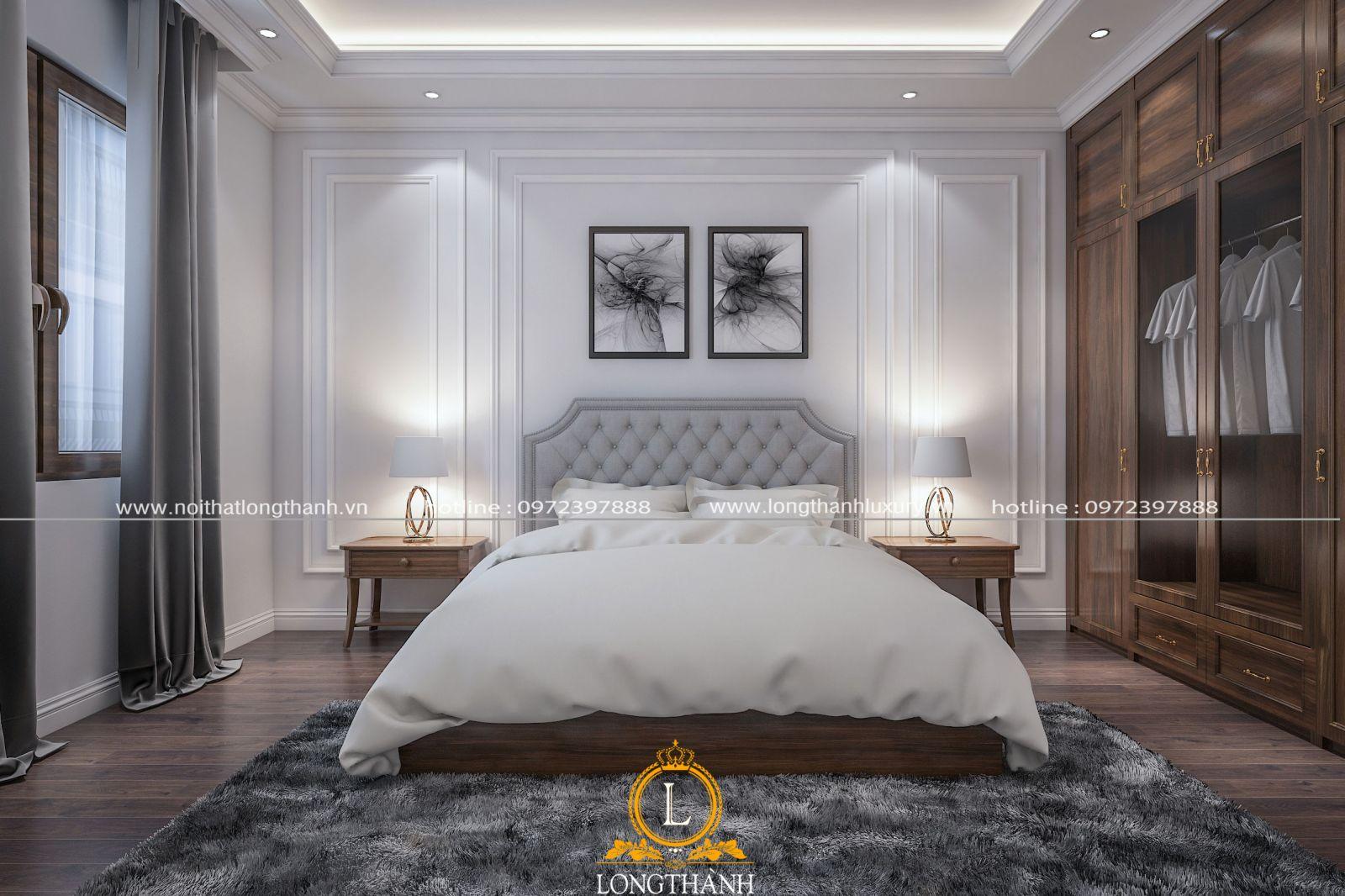 Phòng ngủ master hiện đại với thảm lông ấm cúng