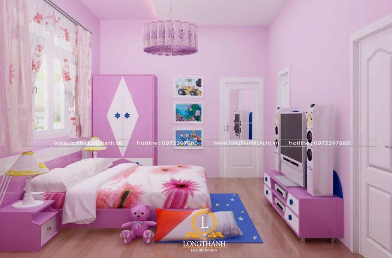 Phòng ngủ hiện đại bé gái với gam màu tím
