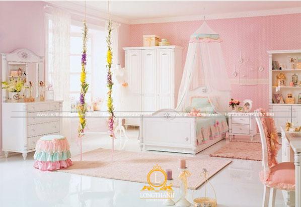 Phòng ngủ hiện đại dễ thương cho con gái