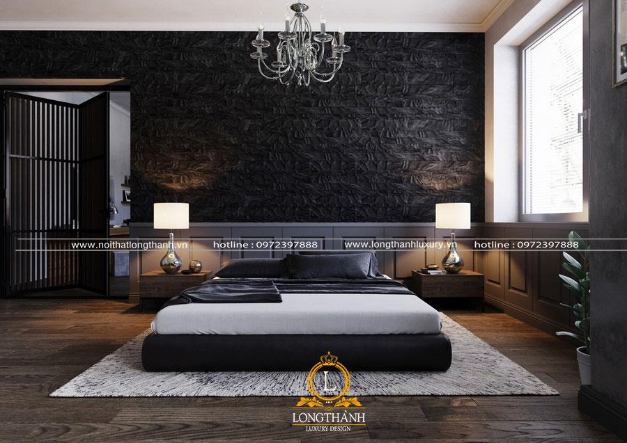 Phòng ngủ hiện đại với gam màu đen đơn giản mà thu hút