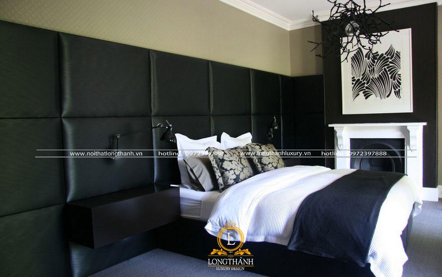 Phòng ngủ hiện đại dùng màu đen trắng tương phản