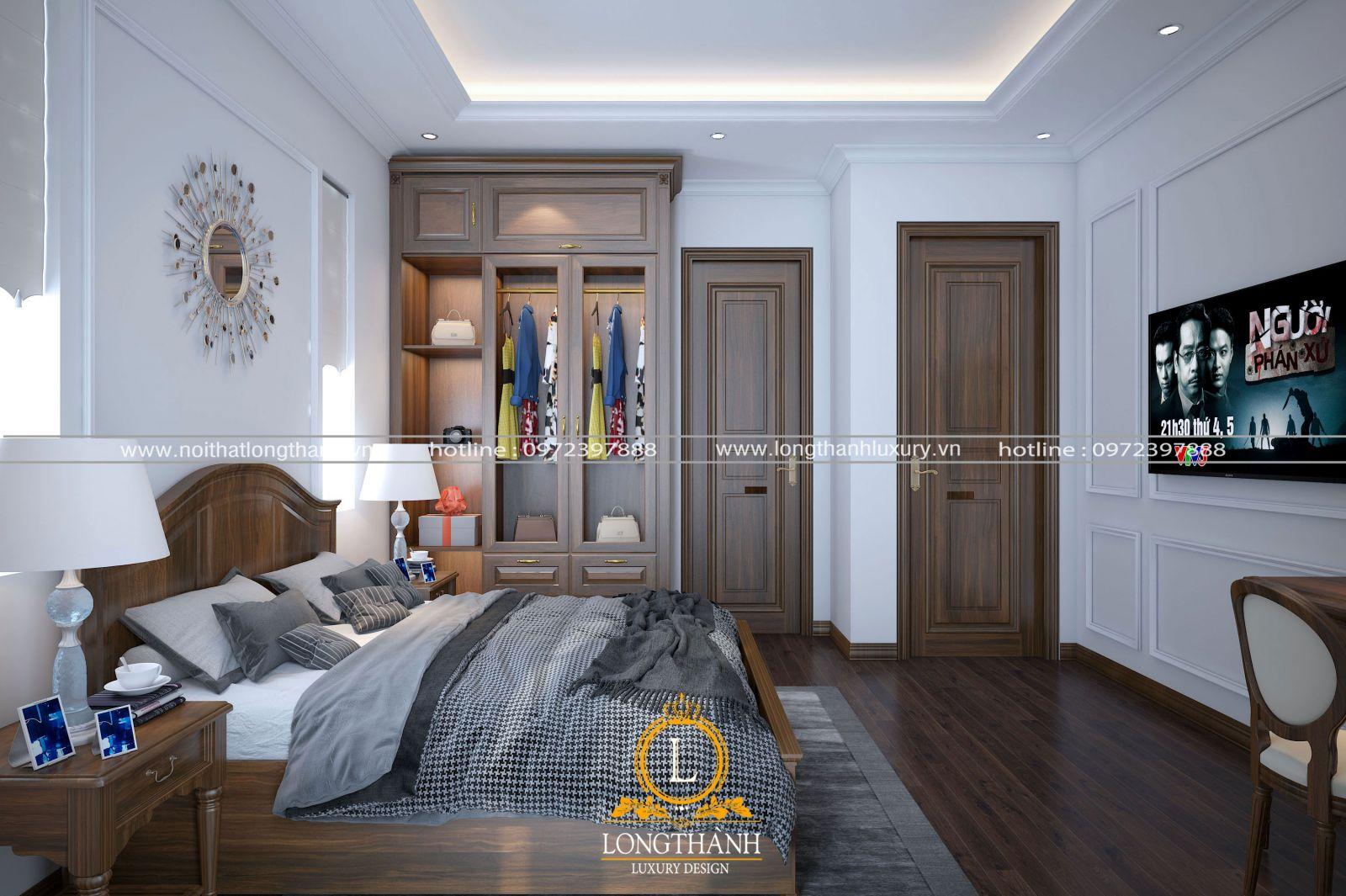 Phòng ngủ hiện đại gỗ tự nhiên chất lượng cho chung cư có diện tích hẹp