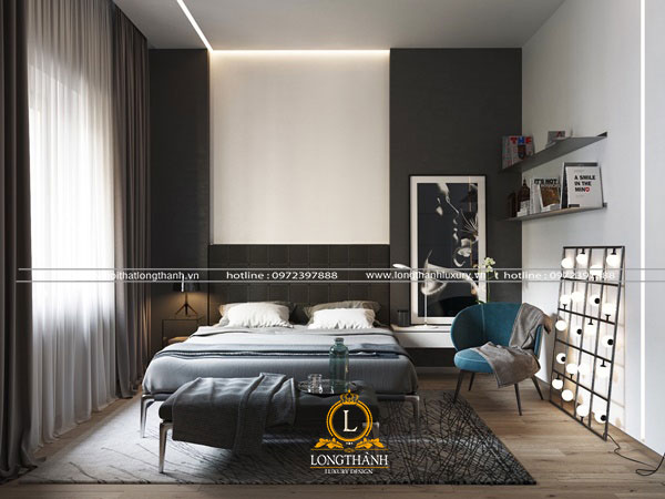 Phòng ngủ hiện đại màu đen nhỏ gọn và ngăn nắp