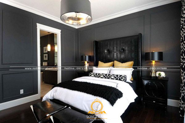 Phòng ngủ hiện đại màu đen với  bộ ga giường sáng