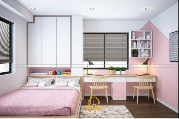 Phòng ngủ hiện đại màu trắng hồng đơn giản
