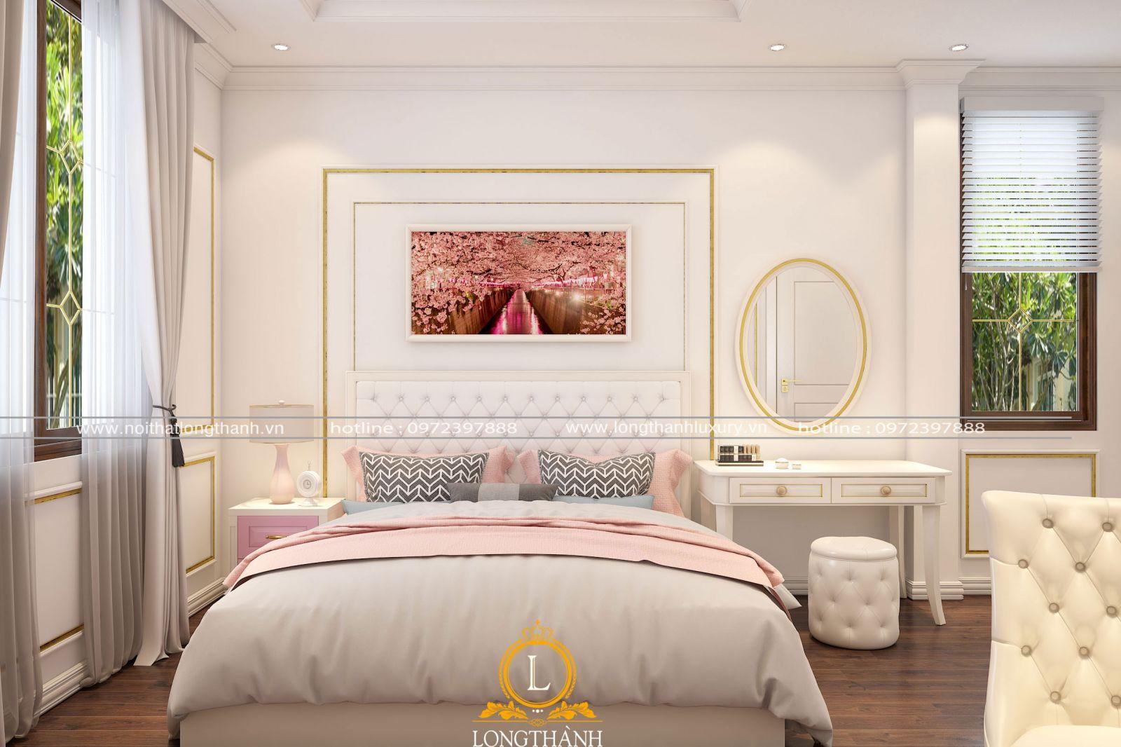 Phòng ngủ hiện đại sang trọng gam màu  trắng