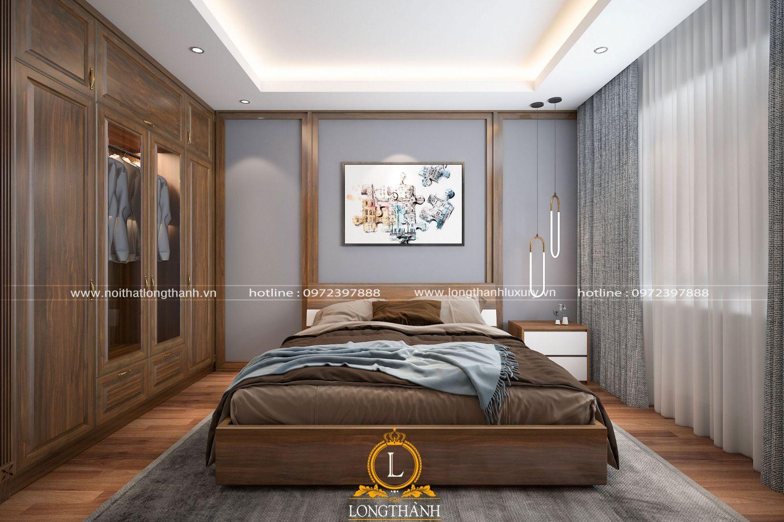 Phòng ngủ master cho chung cư hiện đại với gỗ tự nhiên