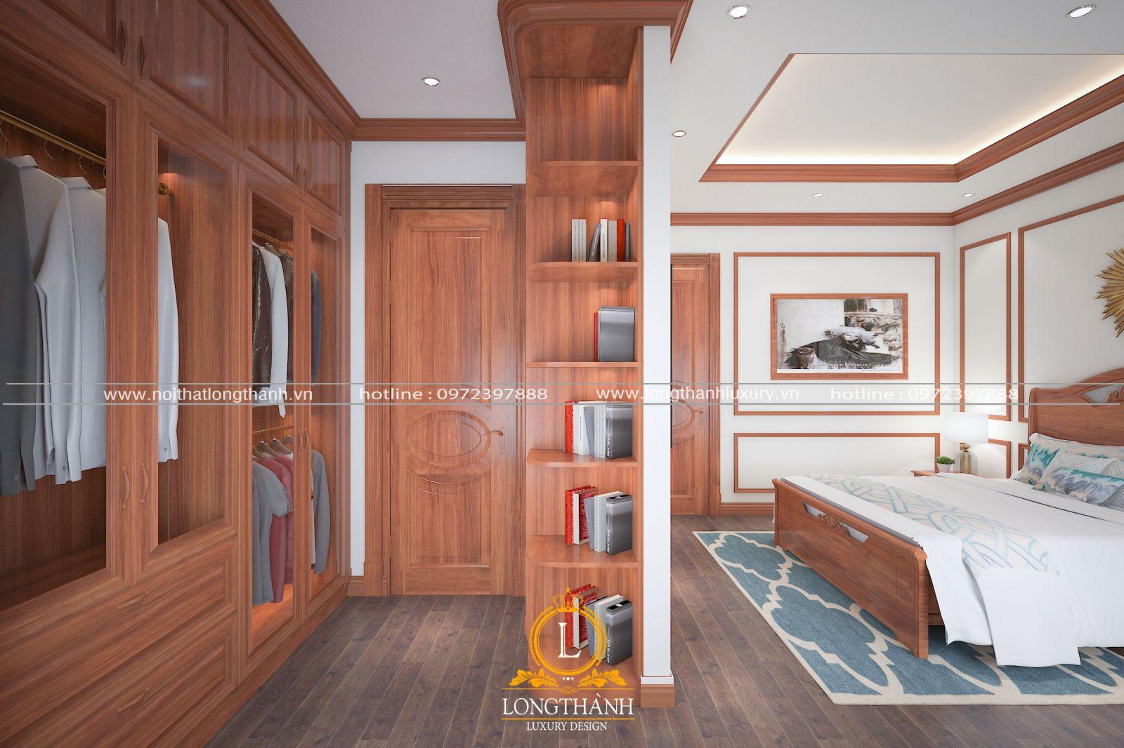 Phòng ngủ hiện đại tách biệt giường ngủ và phòng thay đồ