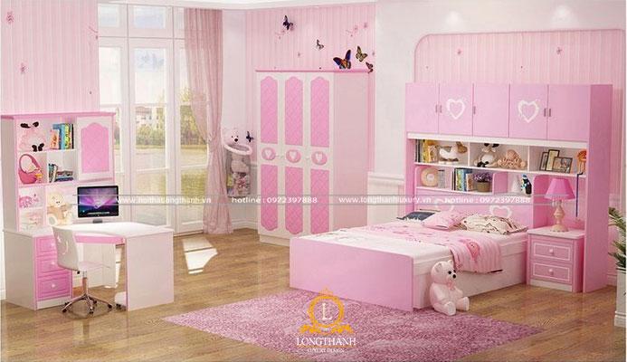Phòng ngủ hiện đại với gam màu hồng làm chủ đạo