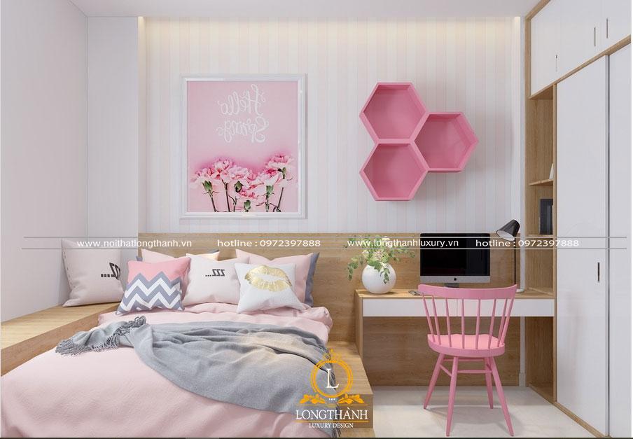 Phòng ngủ hiện đại màu trắng hồng với kệ sách ấn tượng