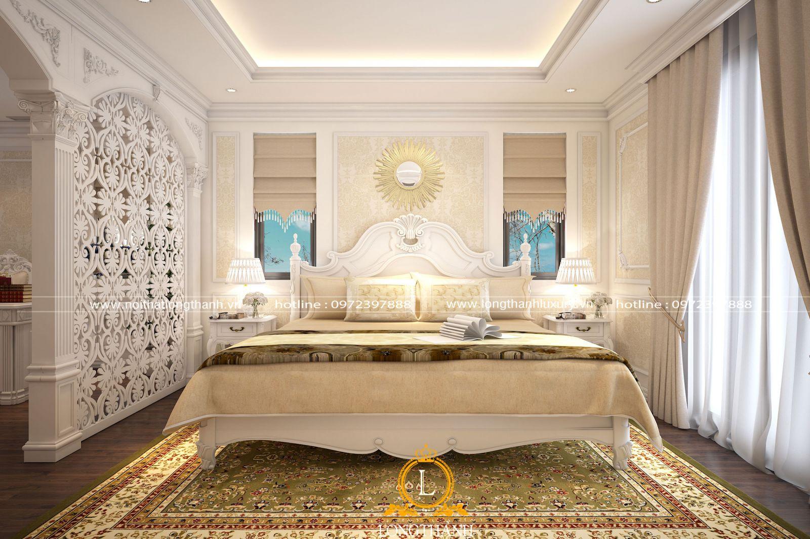 Phòng ngủ màu trắng thiết kế sang trọng