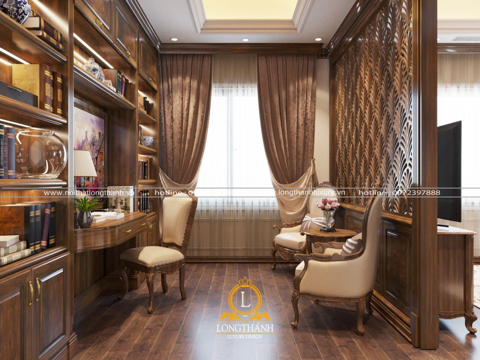 Phòng ngủ sang trọng tích hợp khu vực làm việc tiện nghi
