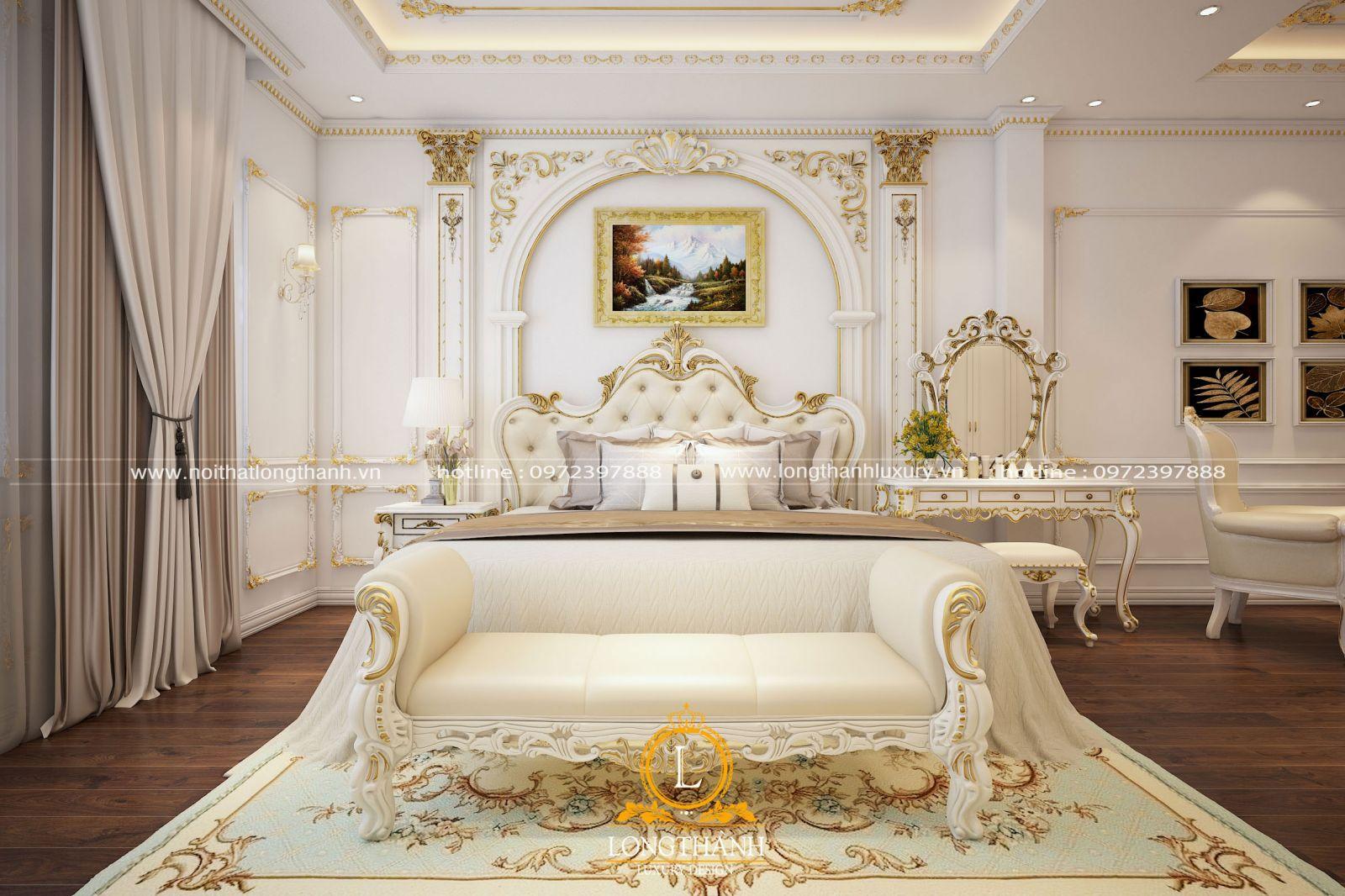 Phòng ngủ cao cấp với gam màu trắng sữa vô cùng tinh tế