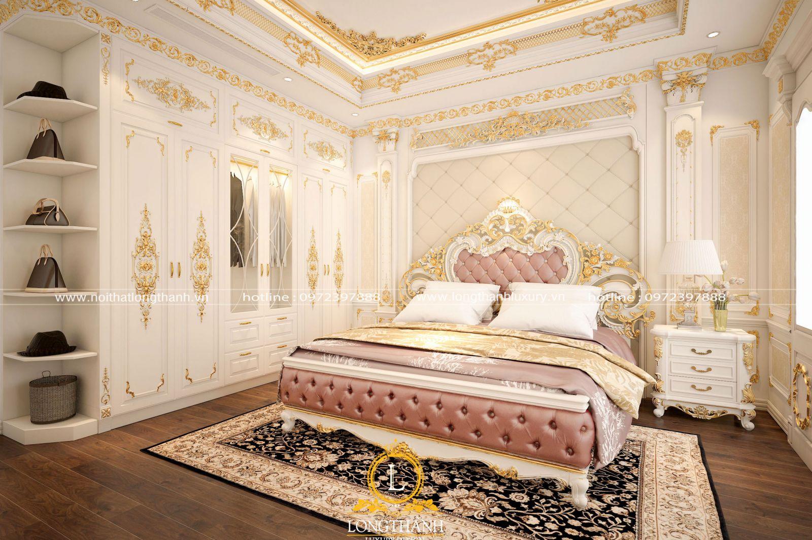 Phòng ngủ tân cổ điển dát vàng sơn trắng