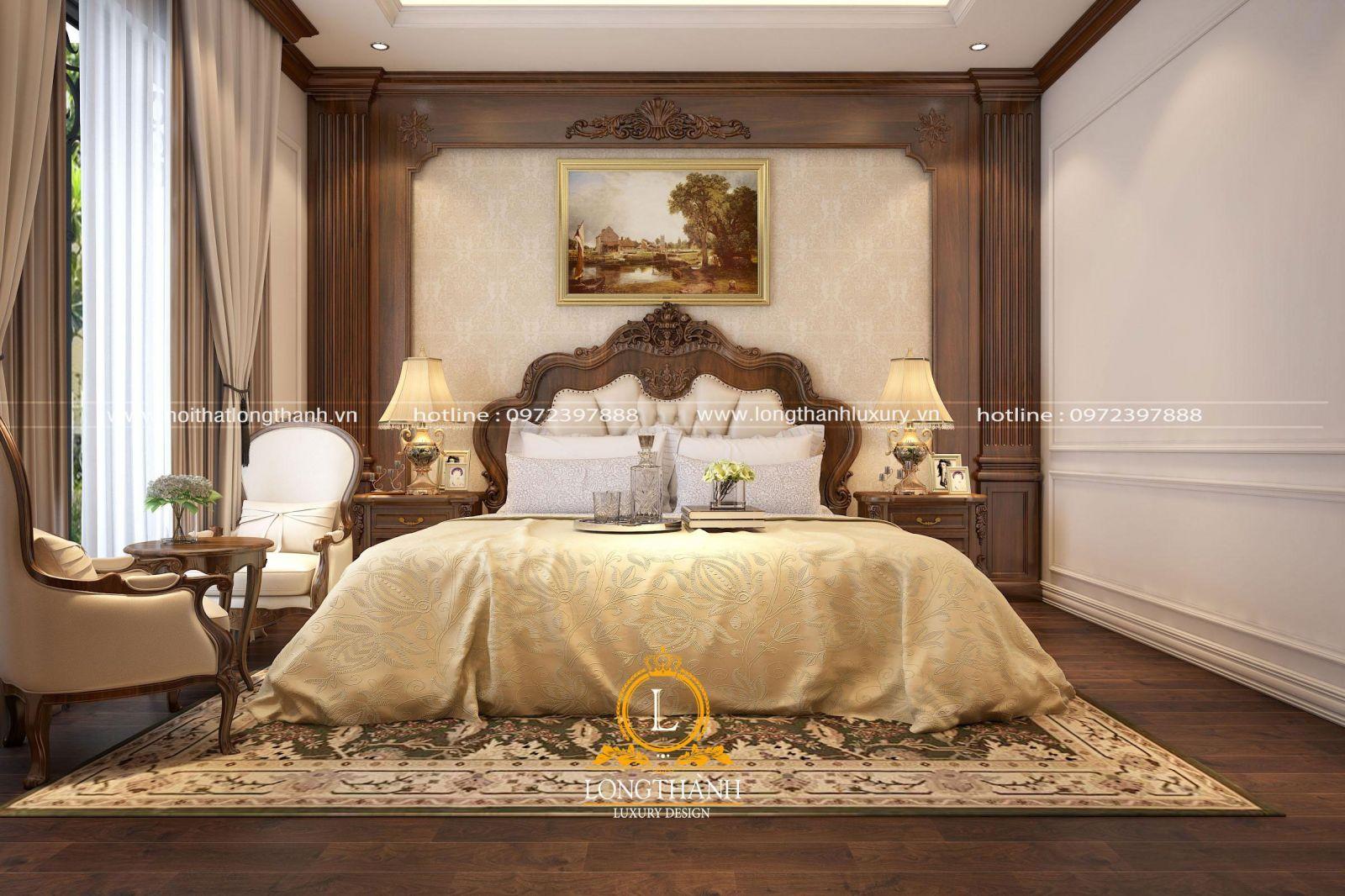Phòng ngủ tân cổ điển gỗ Óc Chó nhẹ  nhàng