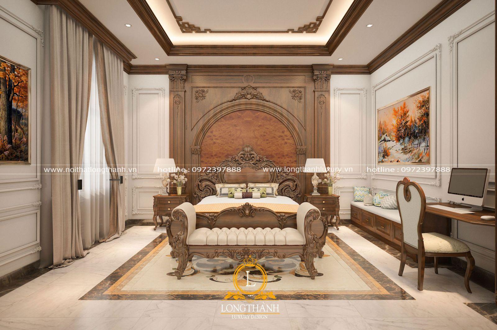 Phòng ngủ tân cổ điển gỗ Óc Chó