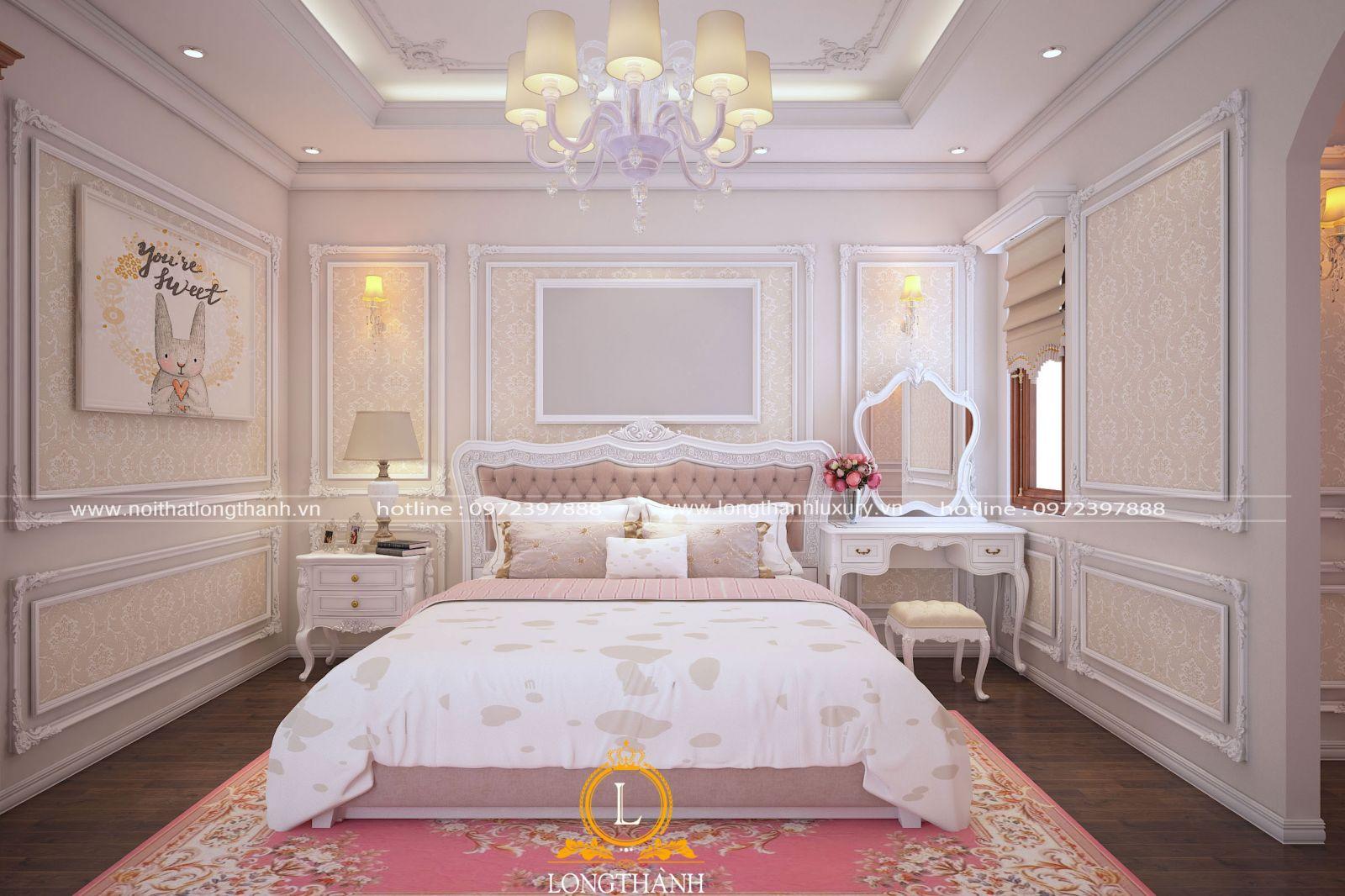 Phòng ngủ tân cổ điển sắc hồng dễ thương