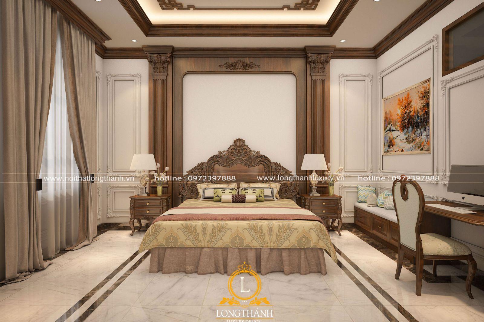 Phòng ngủ tân cổ điển đẹp với gam màu nâu độc đáo
