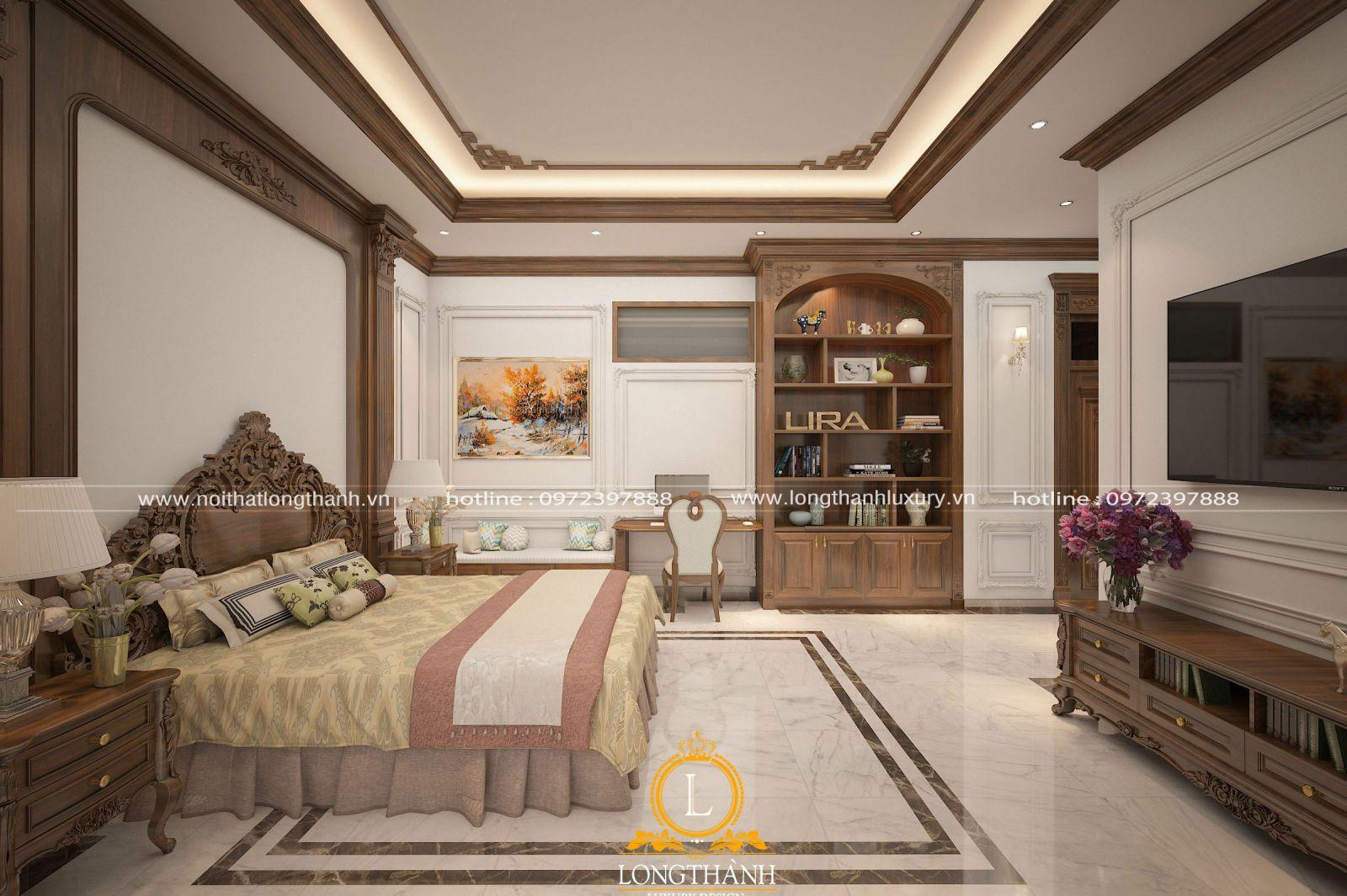 Phòng ngủ tân cổ điển với trần thạch cao ốp gỗ ấn tượng