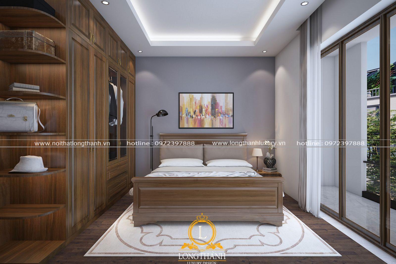 Giường ngủ được bố trí cân đối trong căn phòng ngủ có diện tích hạn chế