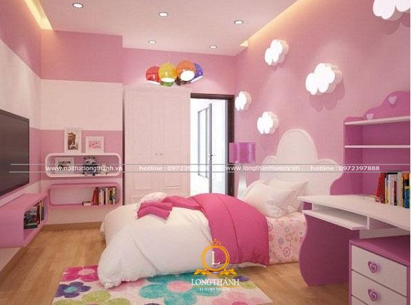 Phòng ngủ trắng hồng với đèn trang trí độc đáo