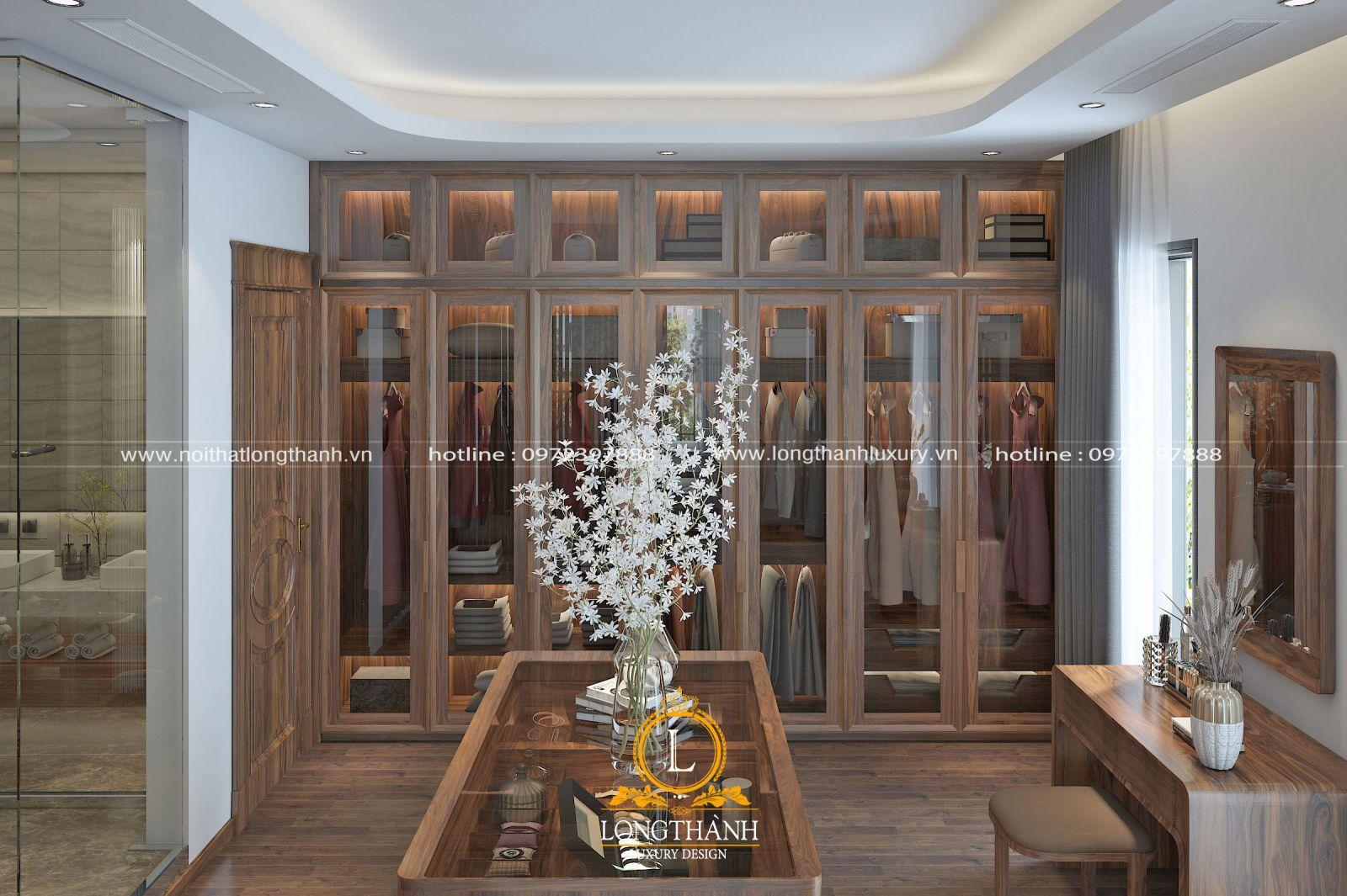 Phòng thay đồ được thiết kế và bố trí độc lập trong không gian phòng ngủ