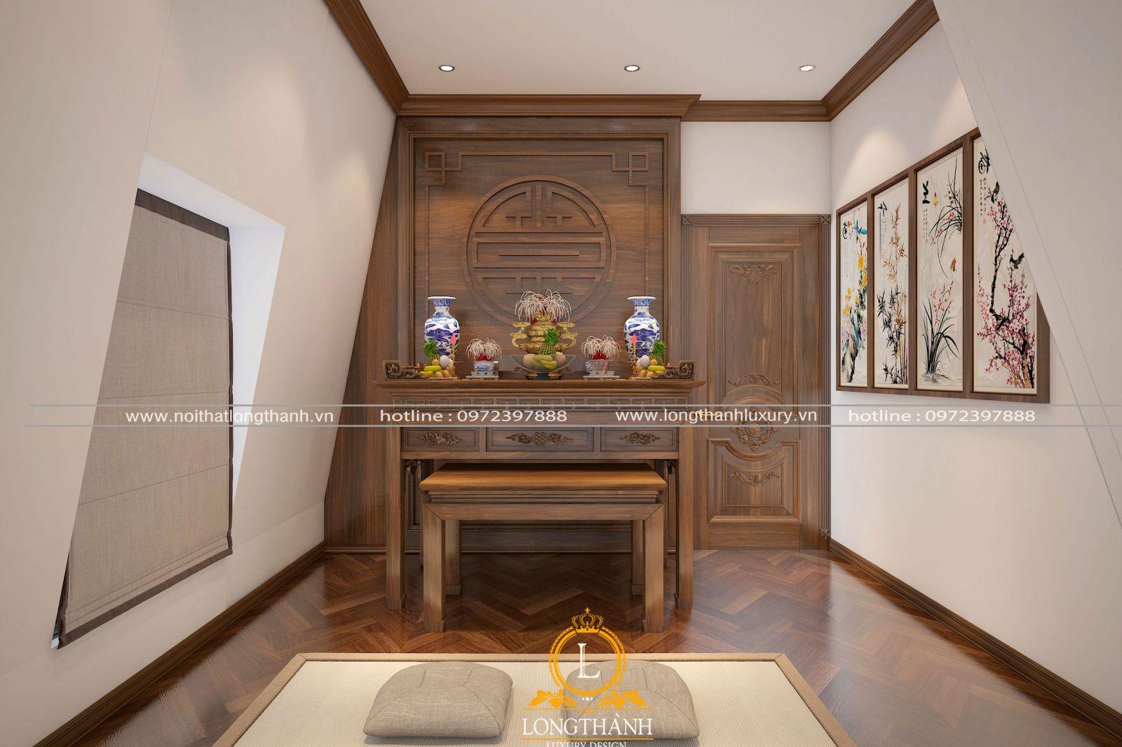 Thiết kế nội thất phòng thờ theo phong cách tân cổ điển đơn giản