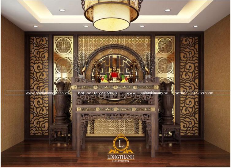 Thiết kế phòng thờ được sử dụng hoàn toàn từ chất liệu gỗ tự nhiên
