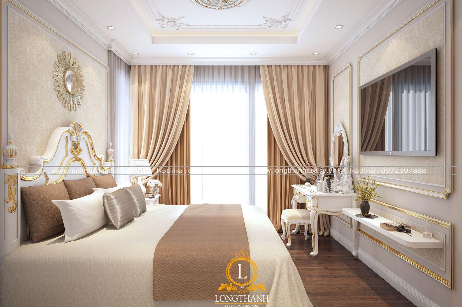 Rèm cửa cho căn phòng ngủ cao cấp màu trắng