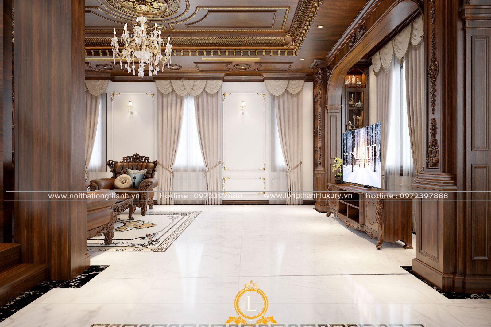 Sảnh phòng khách biệt thự rộng