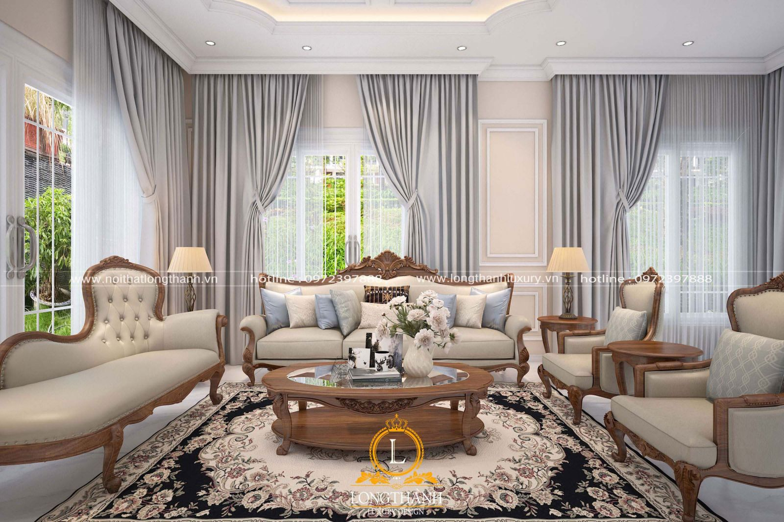 Bộ sofa bọc da đẹp và độc đáo cho không gian phòng khách tân cổ điển