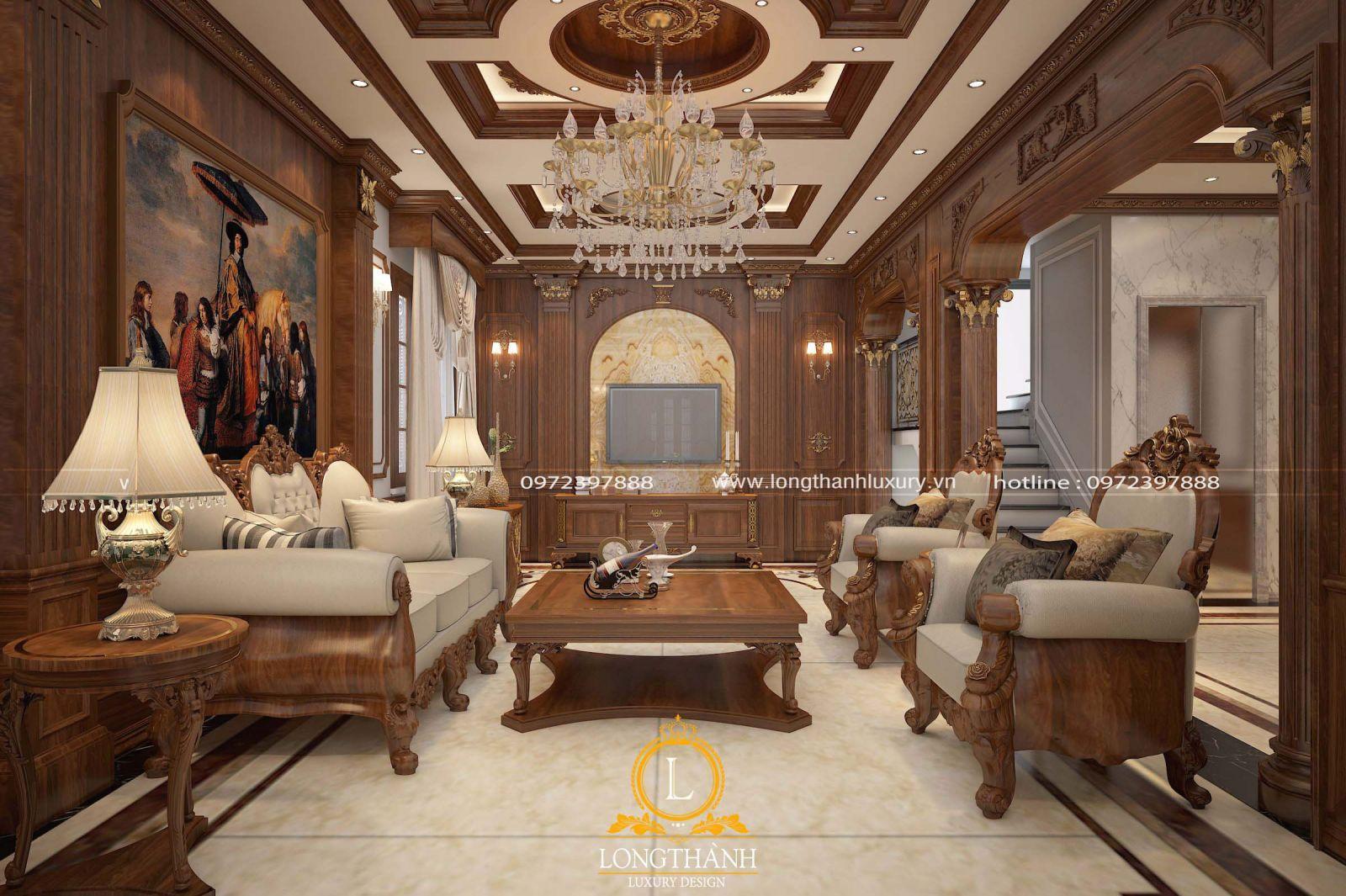 Bộ sofa tân cổ điển với gam màu nâu trầm ấn tượng trong phòng khách