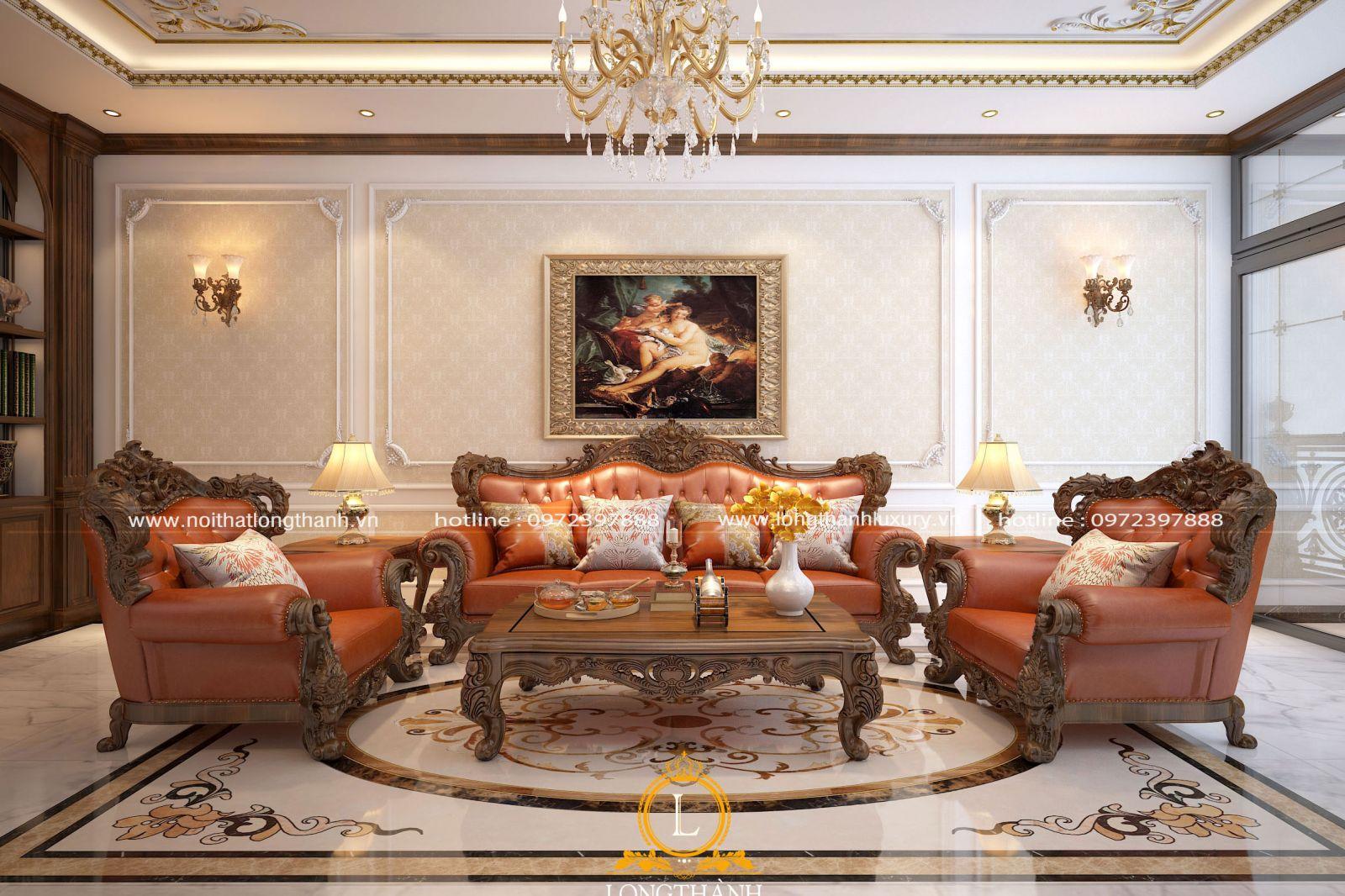 Mẫu sofa tân cổ điển đẹp với màu sắc bắt mắt phù hợp với không gian