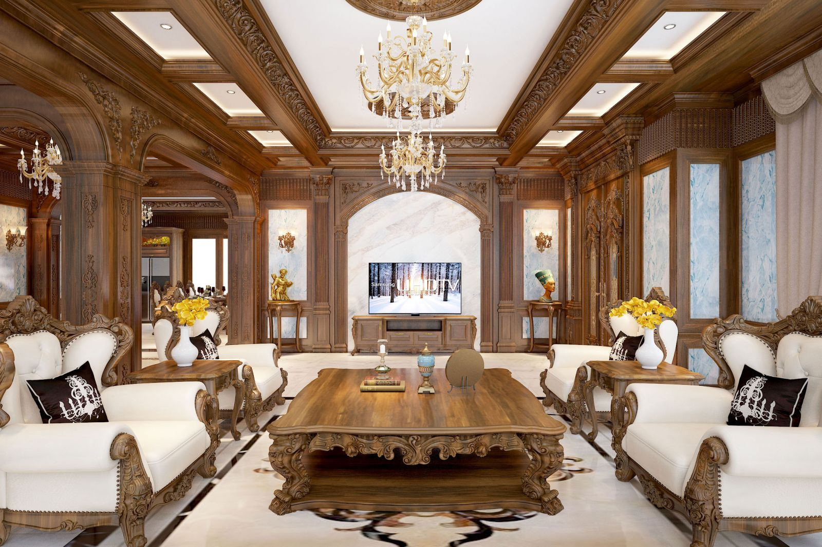 Bộ sofa đẹp với chất lượng gỗ tự nhiên cao cấp cho phòng khách sang trọng