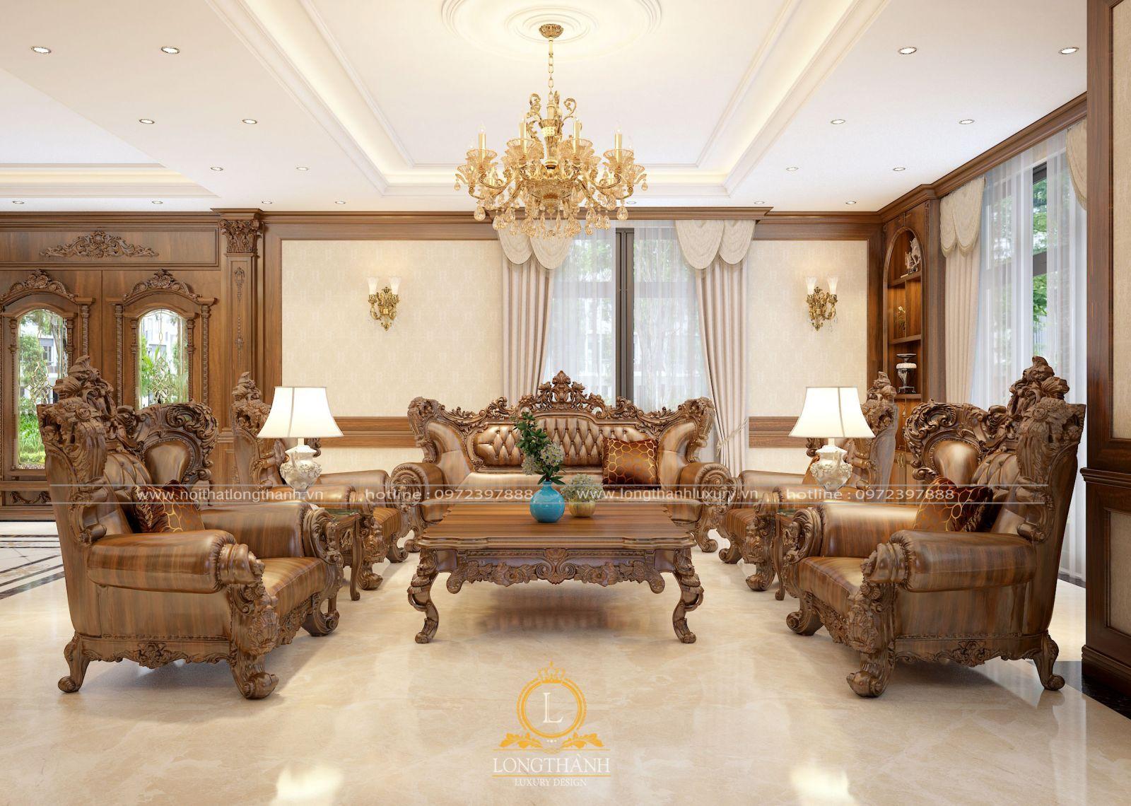 Sofa tân cổ điển với những đường nét tinh tế, tỉ mỉ