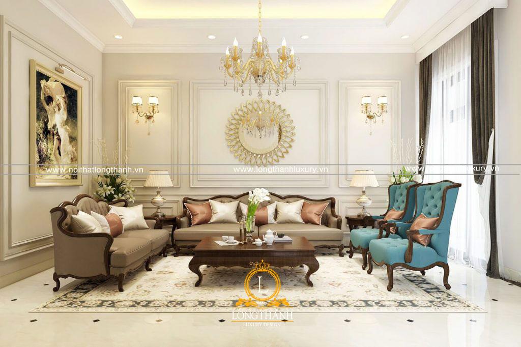 Sự kết hợp hài hòa giữa các món đồ nội thất phòng khách tân cổ điển