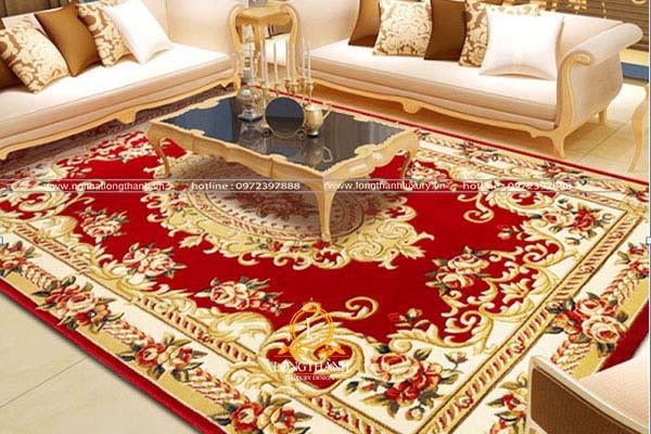 Thảm trải sàn đỏ họa tiết cầu kỳ