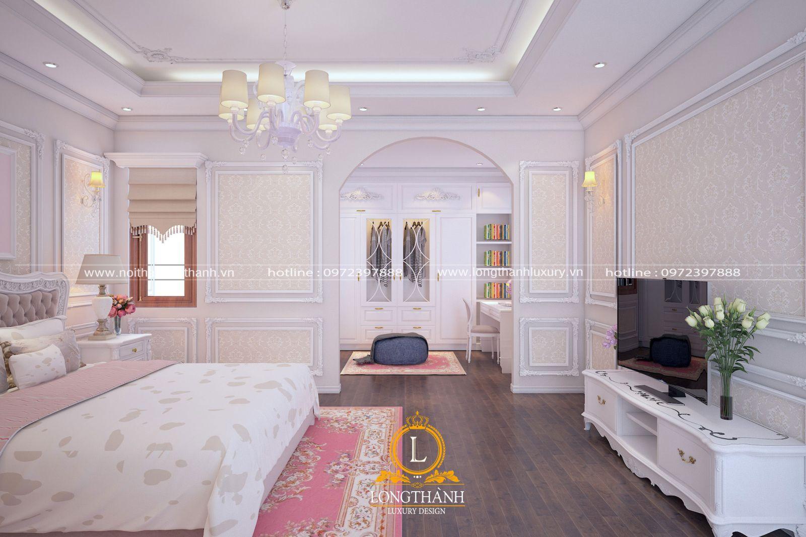 Thảm trải sàn màu hồng phấn trong phòng ngủ màu trắng