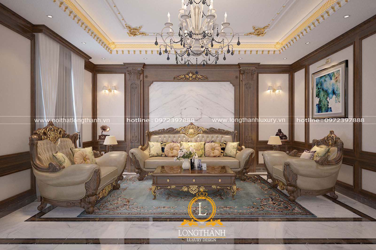 Thảm trải sàn nỉ tân cổ điển cho phòng khách đẹp