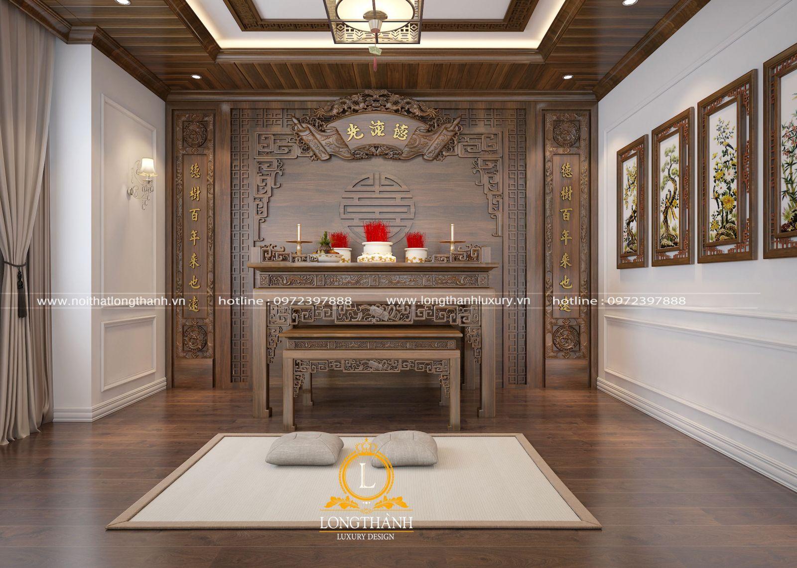 Thiết kế bàn thờ đặt dưới tầng 1 cho nhà 2 tầng ở quê