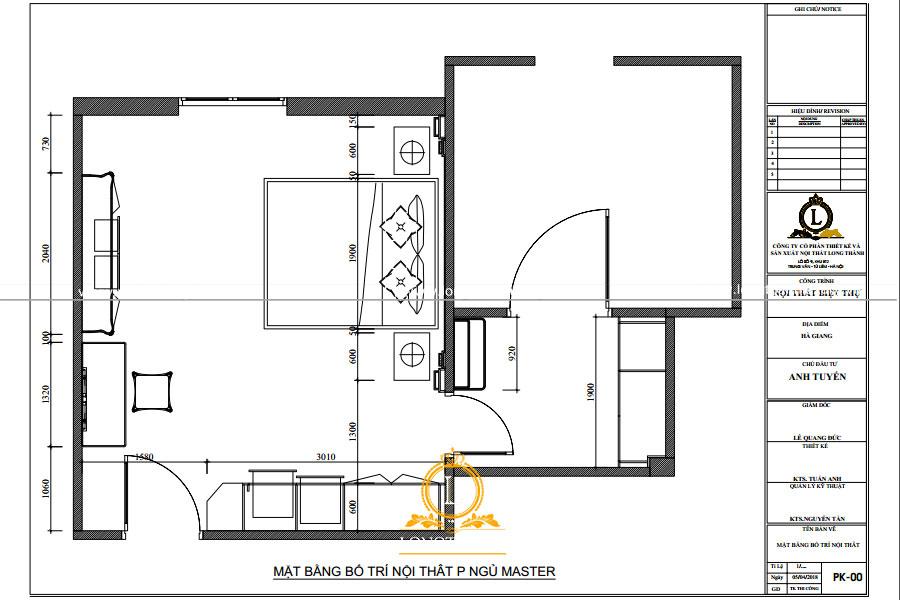 Thiết kế nội thất phòng ngủ master nhà anh Tùng tại Quảng Ninh