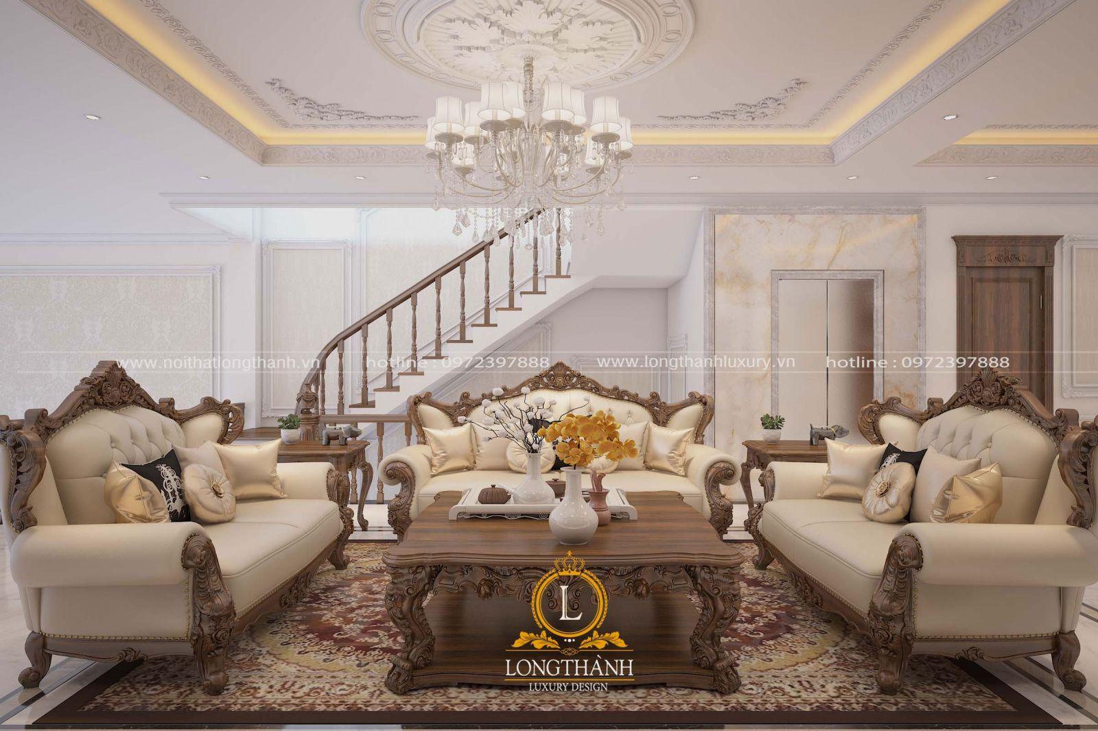 Mẫu nội thất phòng khách  liền cầu thang được nhiều khách hàng lựa chọn