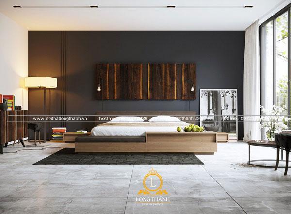 Tông màu đen trong phòng ngủ kết hợp màu gỗ nội thất hiện đại