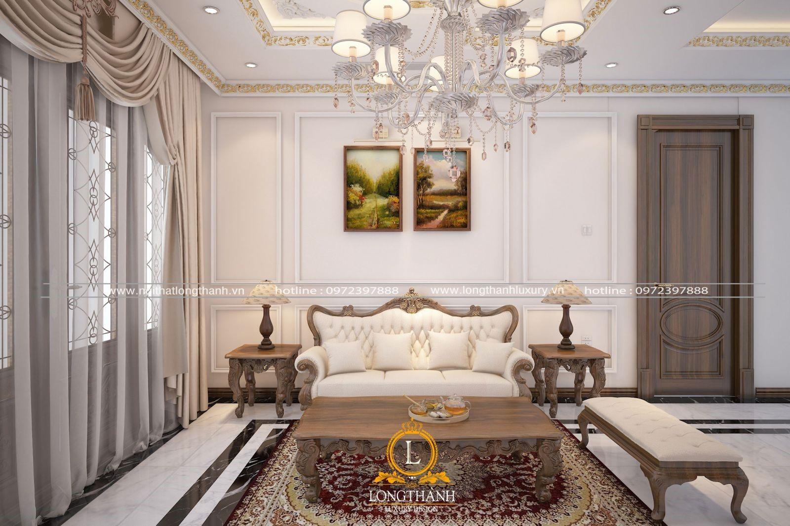 Tông màu trắng cho nội thất tân cổ điển phòng khách nhỏ