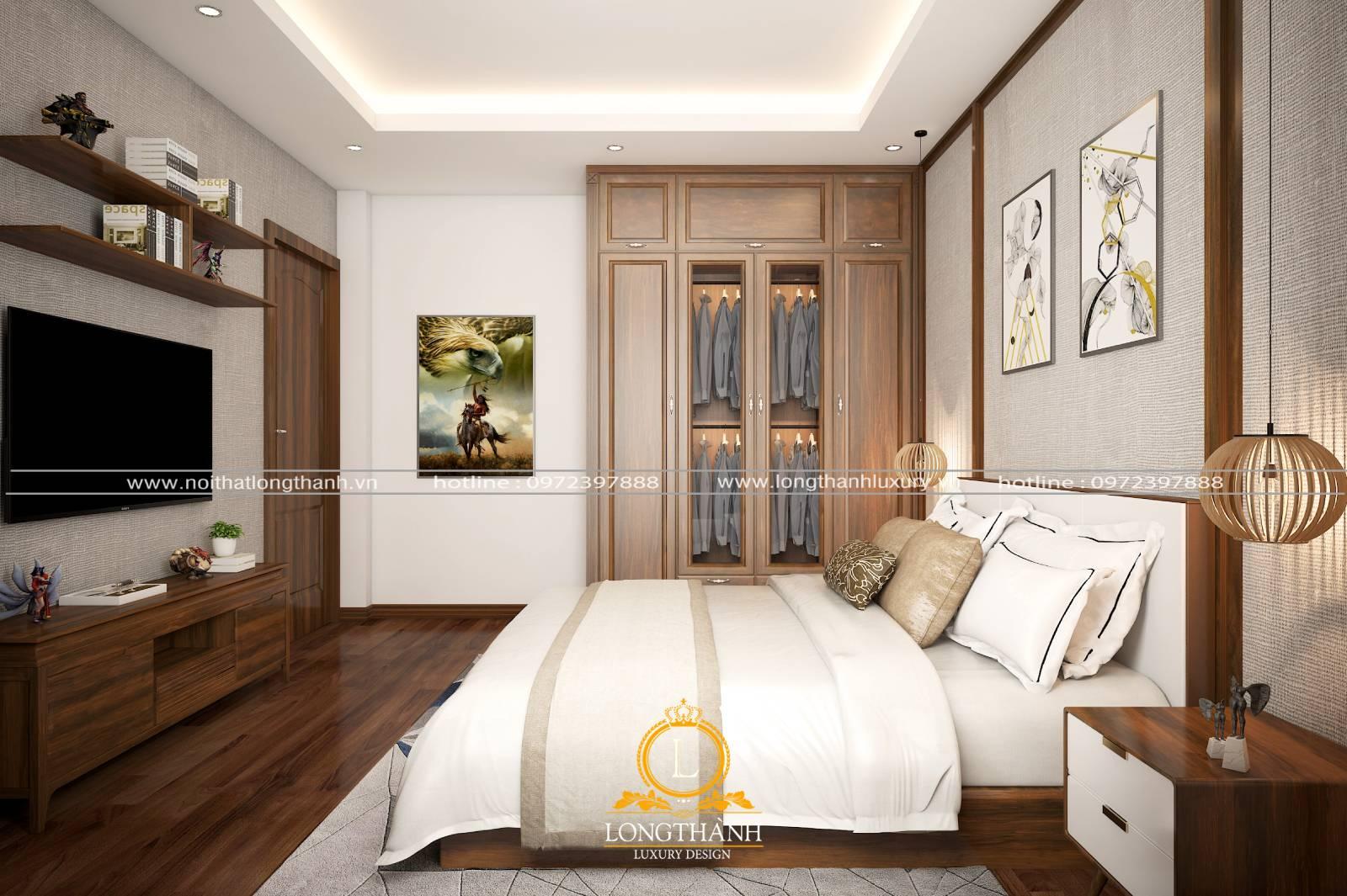 mẫu kệ tivi phòng ngủ hiện đại được làm bằng gỗ hương cao cấp