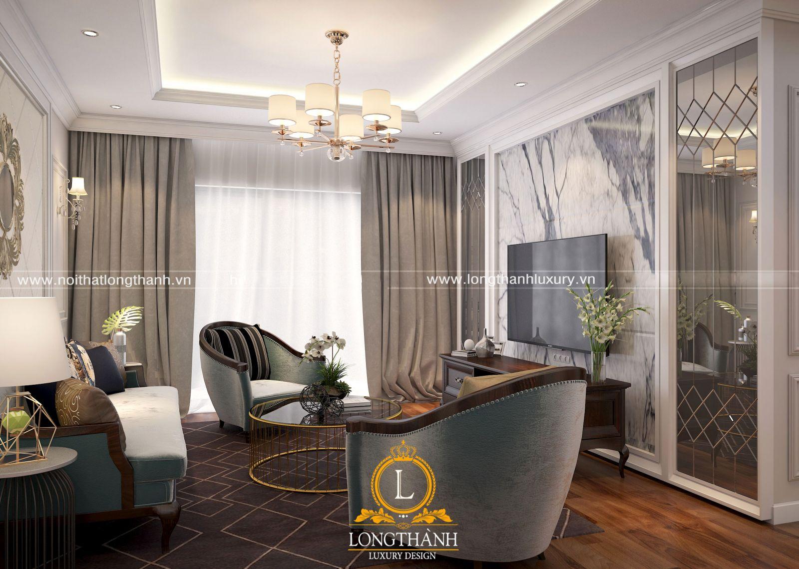 Trần phòng khách nhỏ được bố trí treo hệ đèn trang trí giúp không gian đẹp hơn
