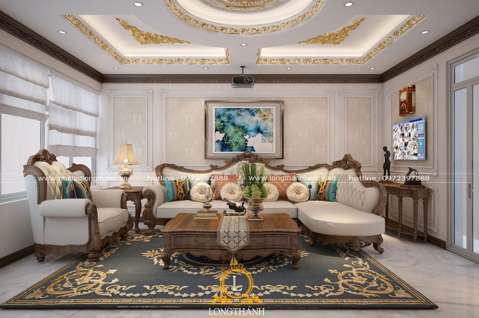 Trần thạch cao dát vàng  được chủ nhân lựa chọn cho phòng khách gia đình