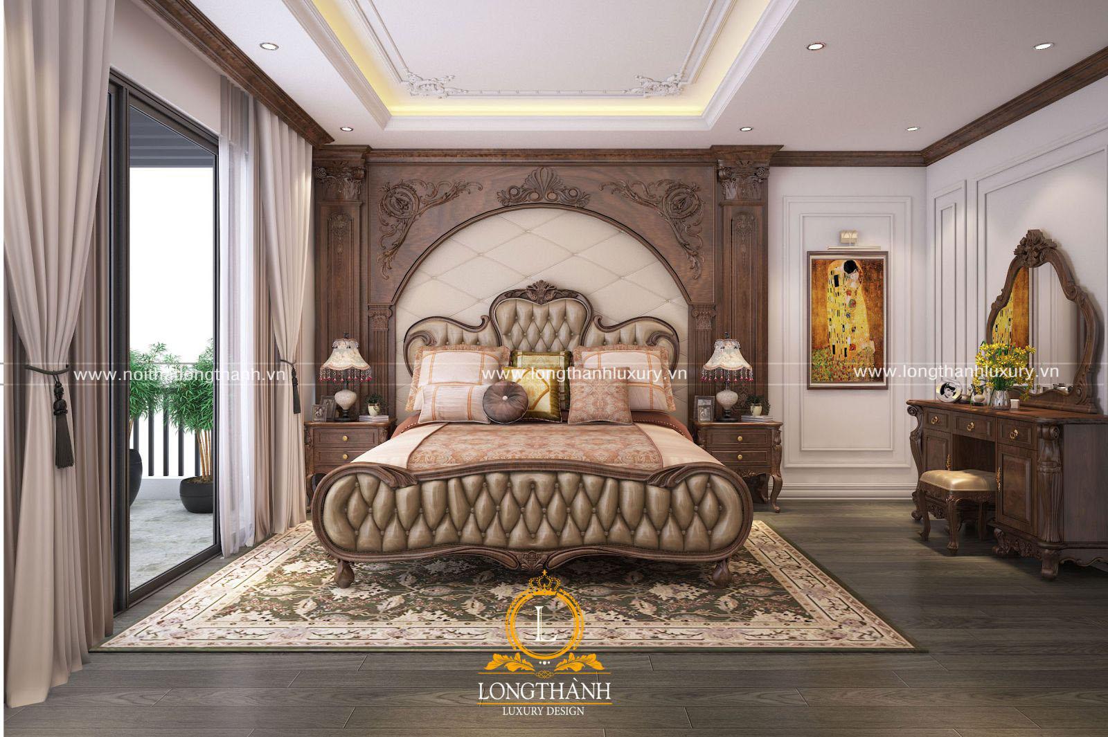 Giường ngủ tân cổ điển kết hợp gỗ tự nhiên và da tự nhiên cao cấp