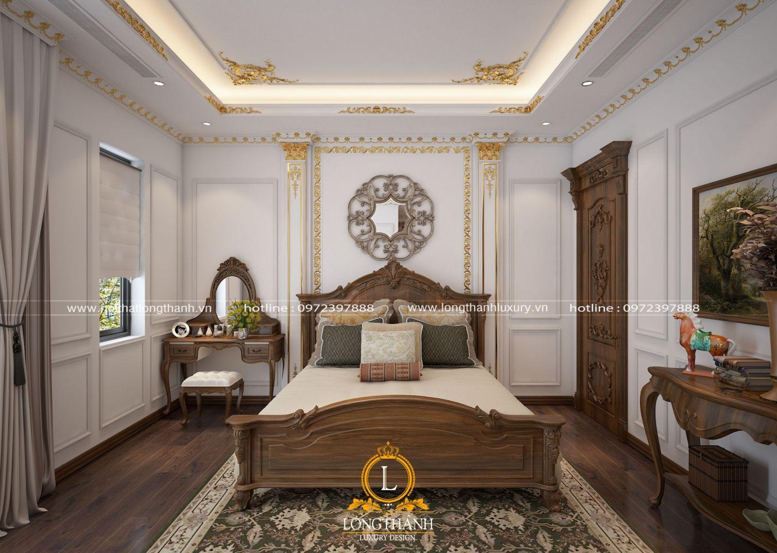 Thiết kế giường ngủ tân cổ điển làm hoàn toàn từ gỗ tự nhiên