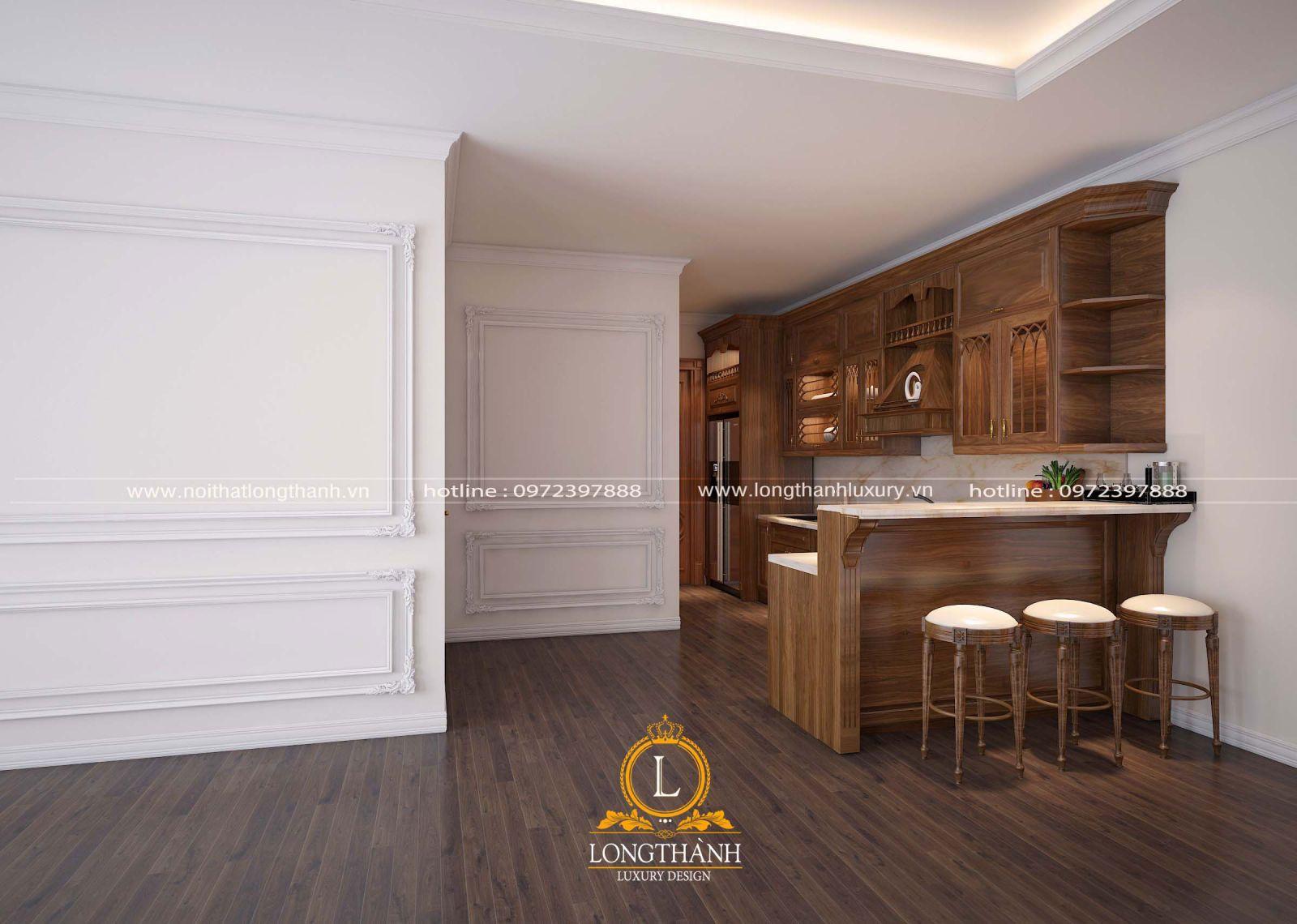 Chiếc tủ bếp được thiết kế quầy bar phù hợp